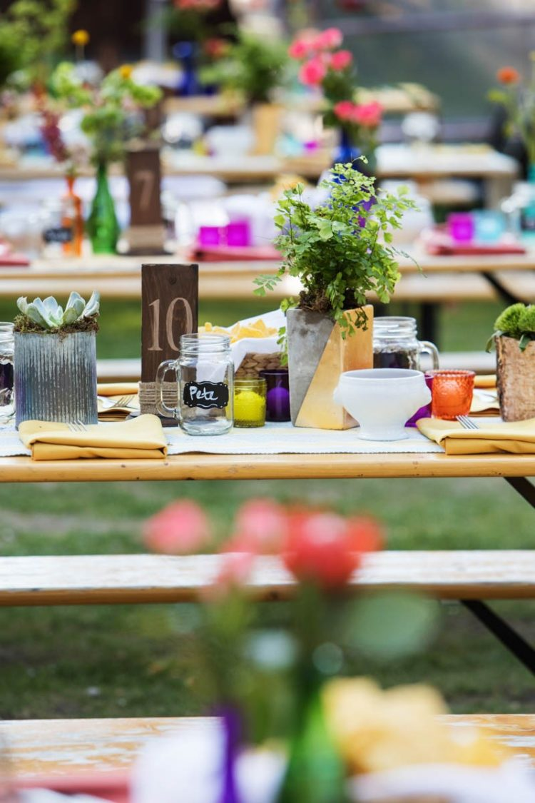 There was potted greenery in mismatching pots and personalized beer mugs for every guest