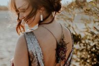 05 dark jewel-toned wedding dress with a dried flower back necklace