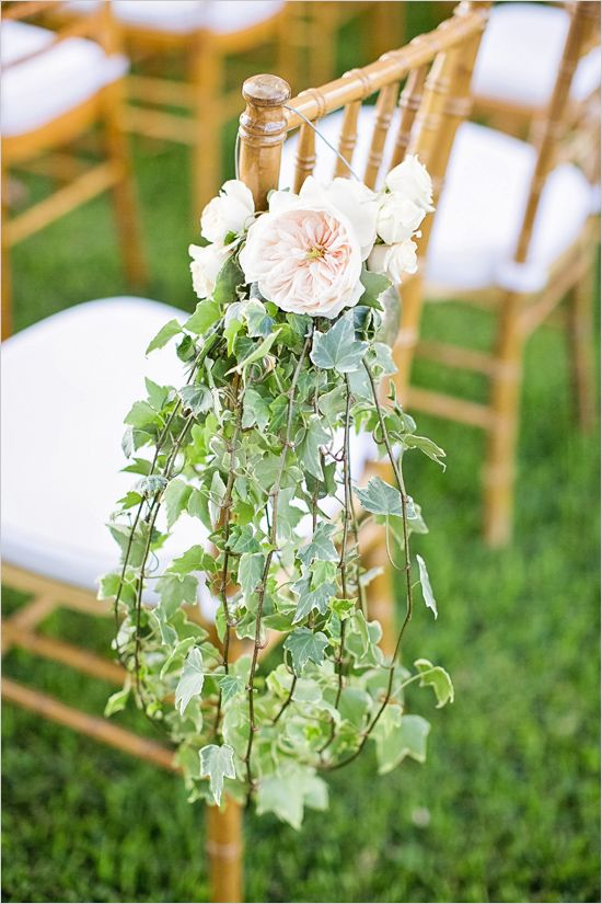 garden rose and ivy aisle decor looks very delicate and romantic