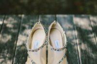 05 nude peep toe wedding booties with rhinestone decor