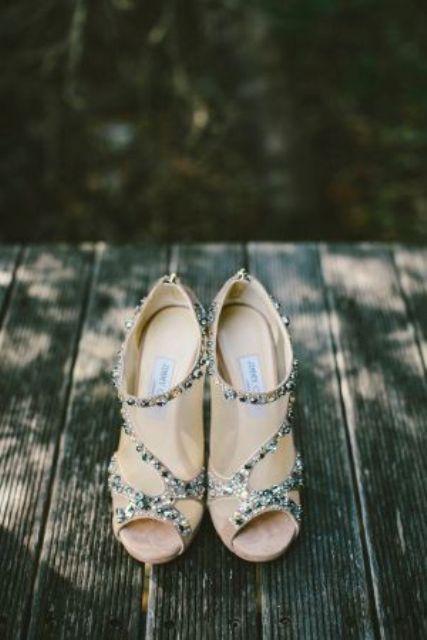 nude peep toe wedding booties with rhinestone decor