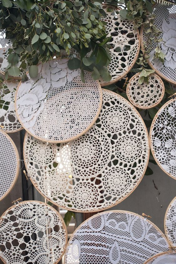 crochet doilies in embroidery hoops for a rustic or boho wedding