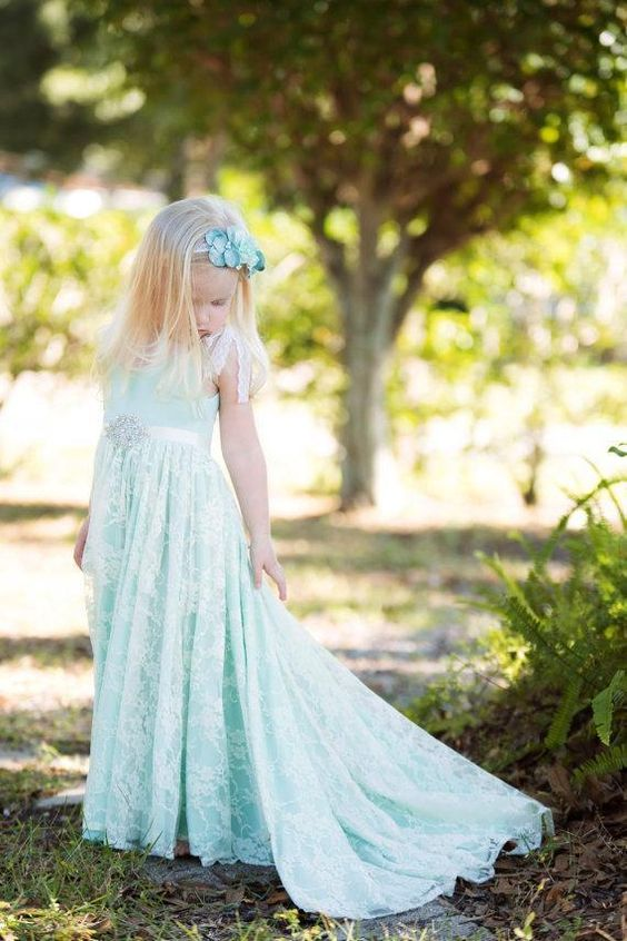 mint lace A-line dress with a rhinestone sash