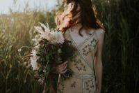 06 spaghetti strap wedding dress with botanical embroidery