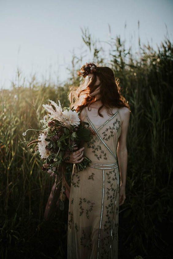 spaghetti strap wedding dress with botanical embroidery
