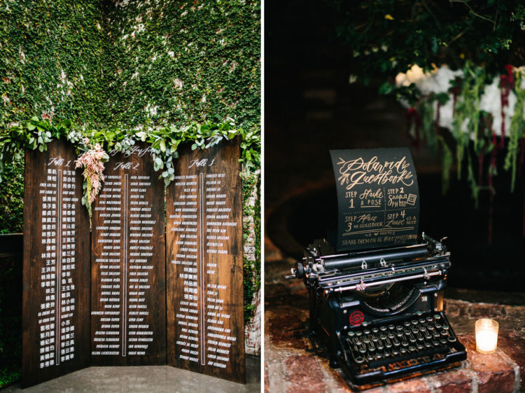 Industrial and antique touches were added by the bride to make the venue more adorable