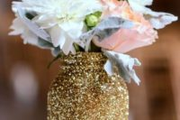 07 a glittered mason jar with blush and white flowers