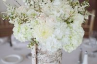 07 white hydrangeas and blush roses and a vase wrapped with birch bark