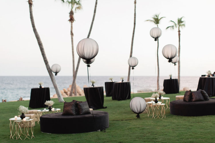 Even the balloons were covered with black tulle for a chic Gothic look