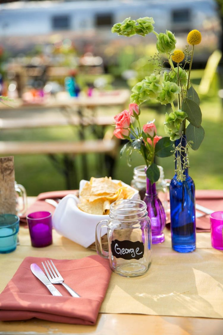 Serving tacos alfresco was such a cool idea, I think, it's perfect for a camp wedding
