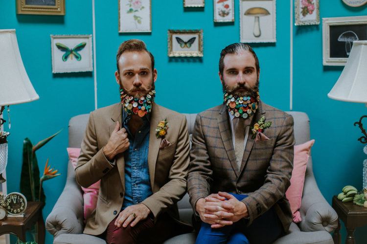 The couple decorated their beards with colorful buttons for some shots