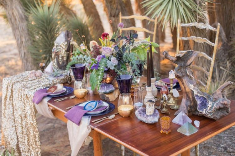 The gold sequin table runner, driftwood with glitter, and candles made the tablescape very eye-catching
