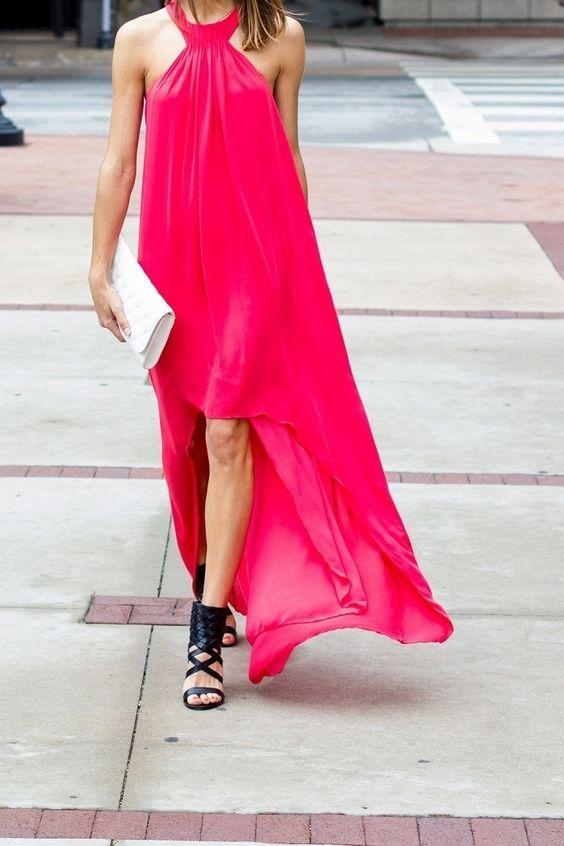 asymmetrical halter neckline fuchsia dress and gladiator sandals