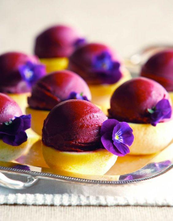 blackberry cabernet sorbet on lemon halves and with blooms