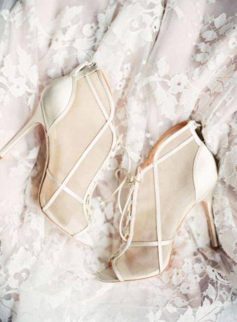sheer ivory modern wedding booties
