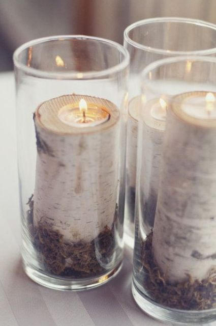 small birch branch cuts as candle holders in glasses for safety