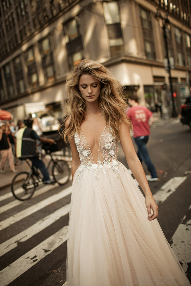 Plunging neckline ballgown with a sheer bodice with lace appliques and beads, a tulle skirt