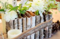 09 birch bark pockets with different flowers and greenery