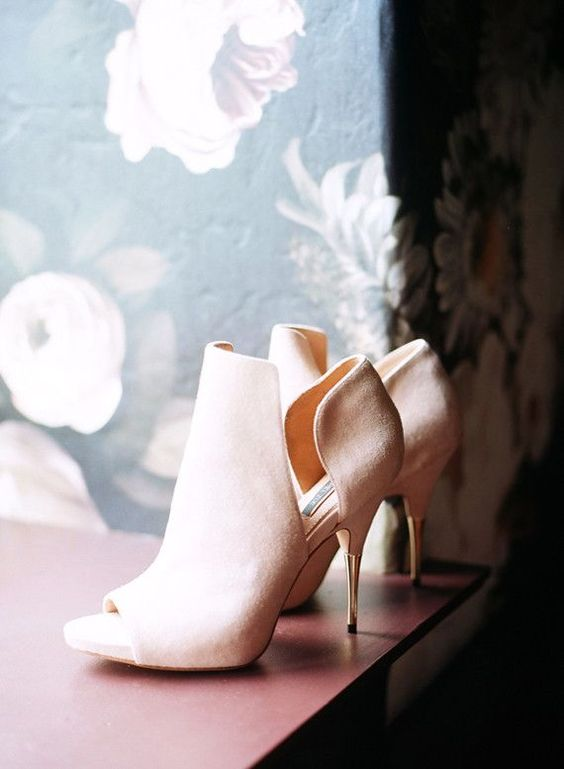blush suede cutout peep toe boots with metallic heels