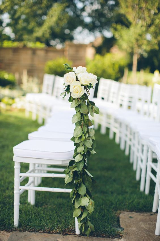 green leaves and white roses for a sophisticated look