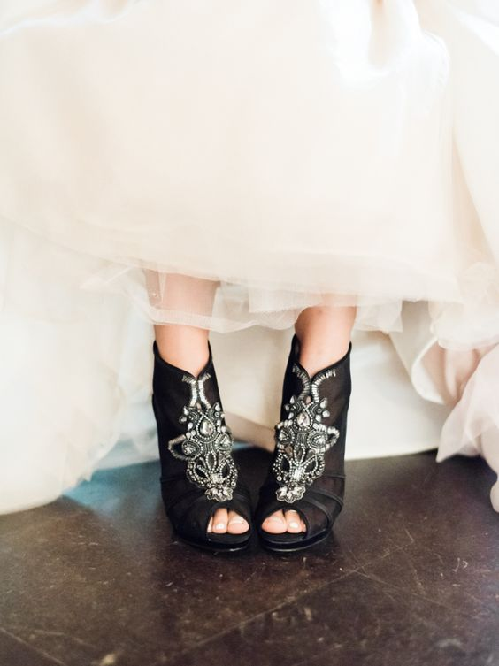 black peep toe wedding booties with whimsy beading