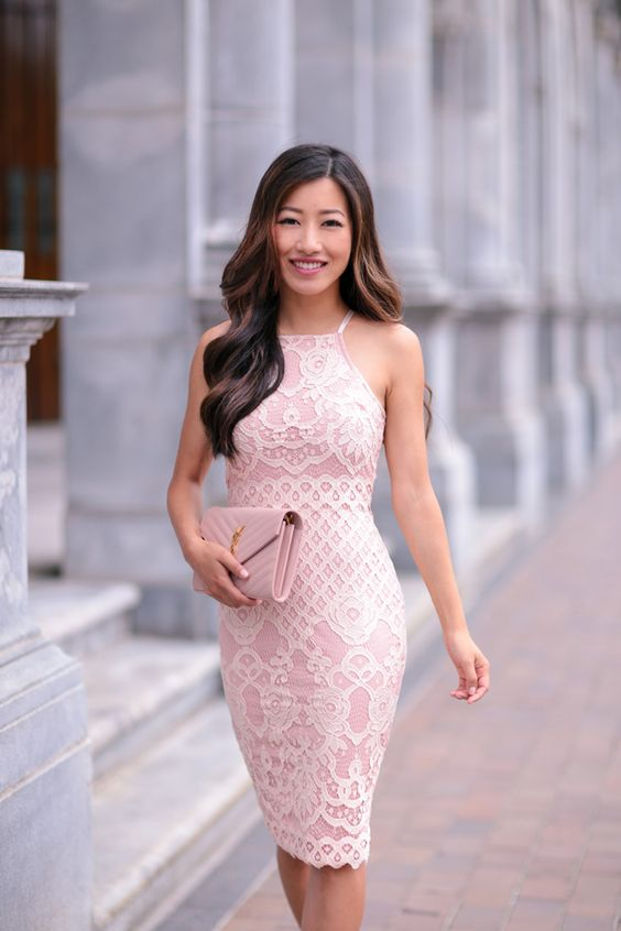 Picture Of Blush Pink Halter Neckline Fitted Dress And A