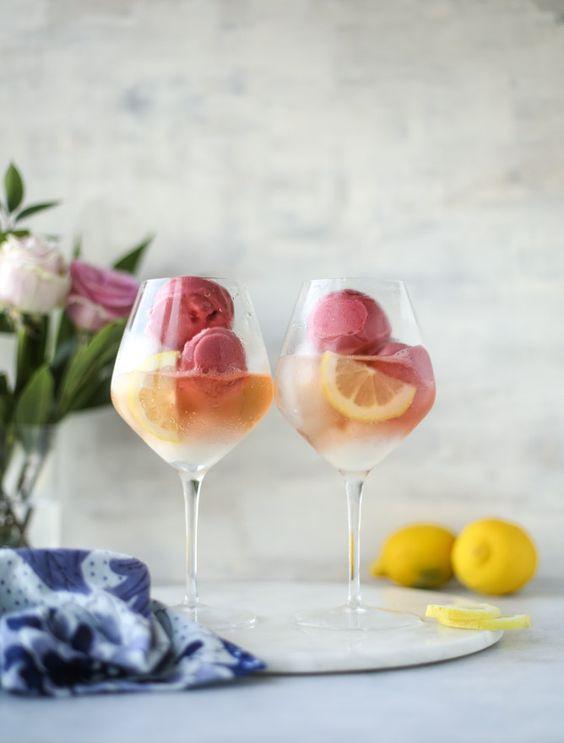 lemon raspberry sorbet floats