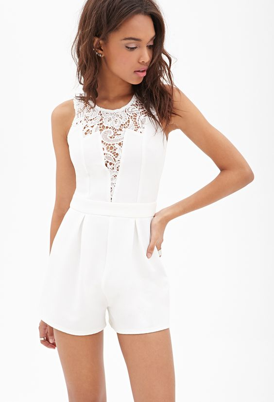 white lace-paneled ribbed romper is a perfect idea for summer