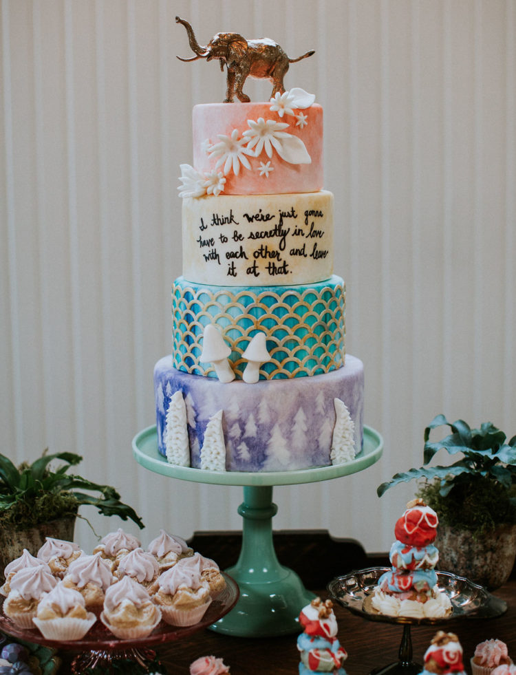 Have a look at this eye-catchy four-tiered cake with mushrooms