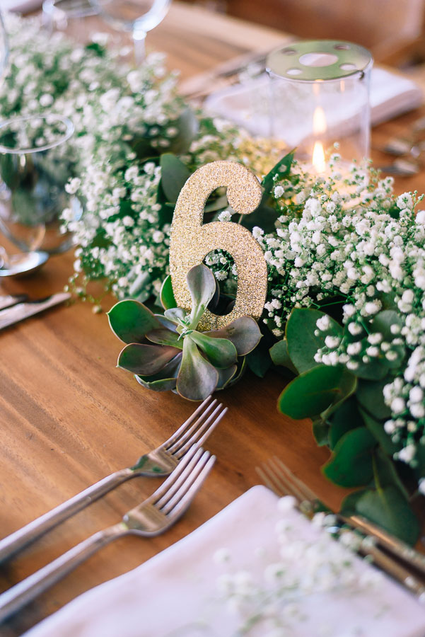 Succulents were used to hold table numbers