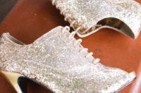 11 silver sequin peep toe wedding booties with gold heels