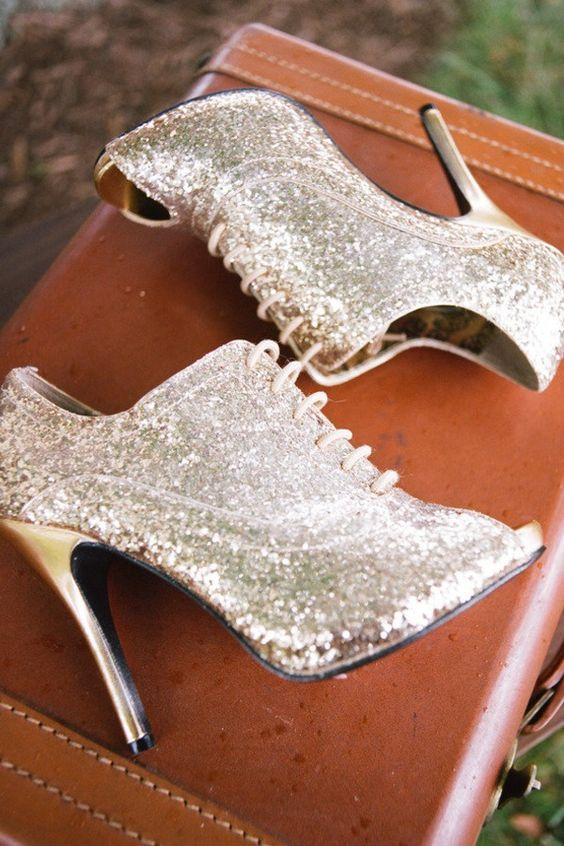 silver sequin peep toe wedding booties with gold heels