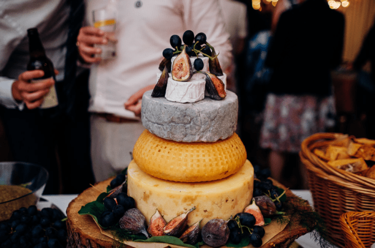 Another cake was a cheese tower topped with figs and grapes