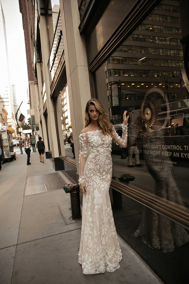 Lace applique off the shoulder long sleeve wedding dress