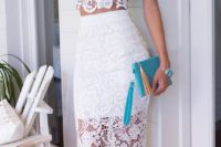 12 a white lace separate with a pencil skirt and a top and a cute clutch