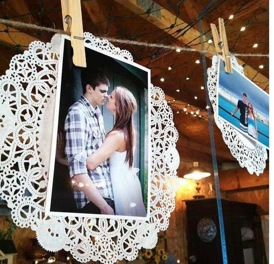 paper doilies for attaching your engagement photos
