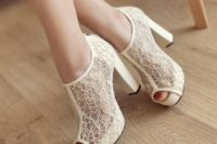 12 textural ivory lace peep toe boots on comfy heels