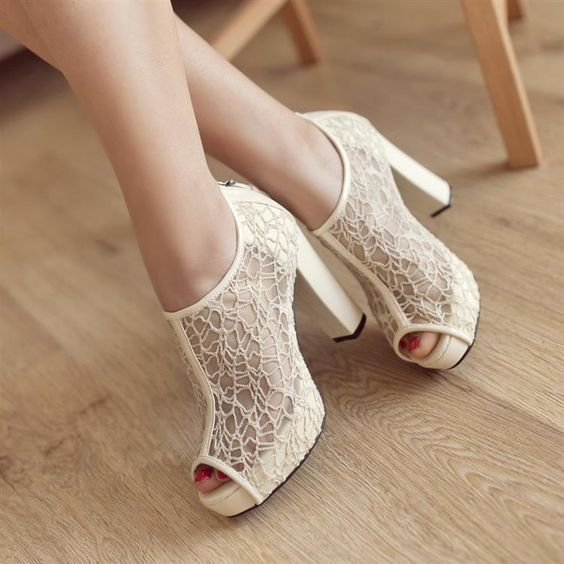 textural ivory lace peep toe boots on comfy heels