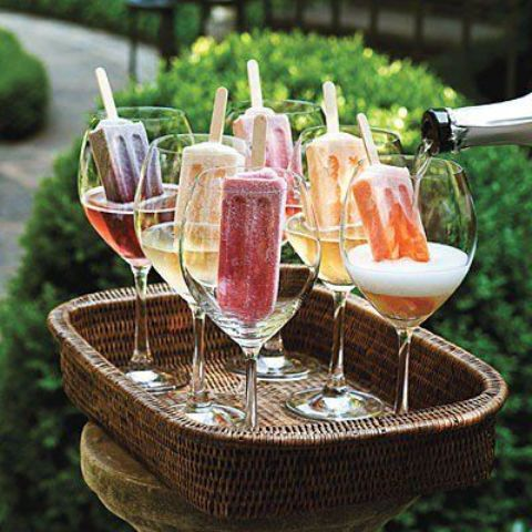 berry popsicles with champagne