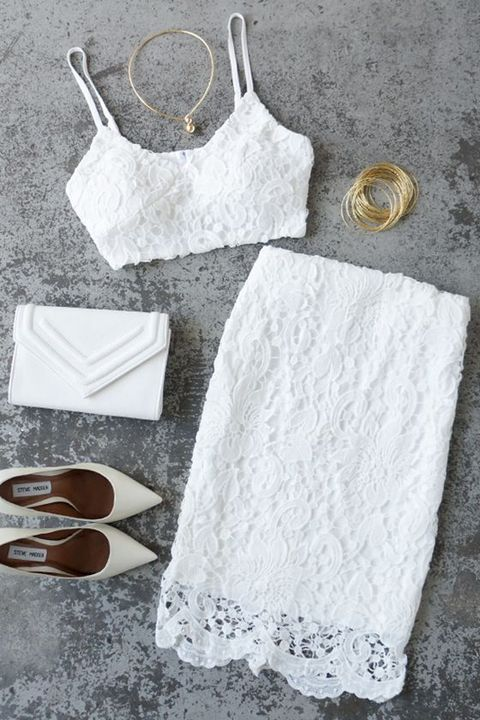 white lace separate with a pencil skirt and a spaghetti strap top, gold jewelry and heels