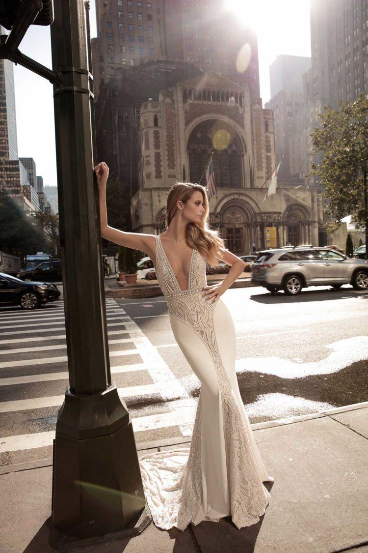 Wedding Dresses With Rhinestones 75 Elegant Plunging neckline with a