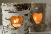 14 birch candle holders with cutout hearts