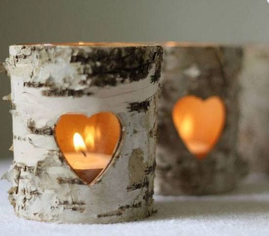 birch candle holders with cutout hearts