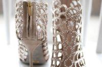 14 jeweled cutout peep toe booties on stiletto heels