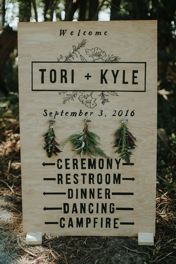 rustic and woodland-inspired wedding sign