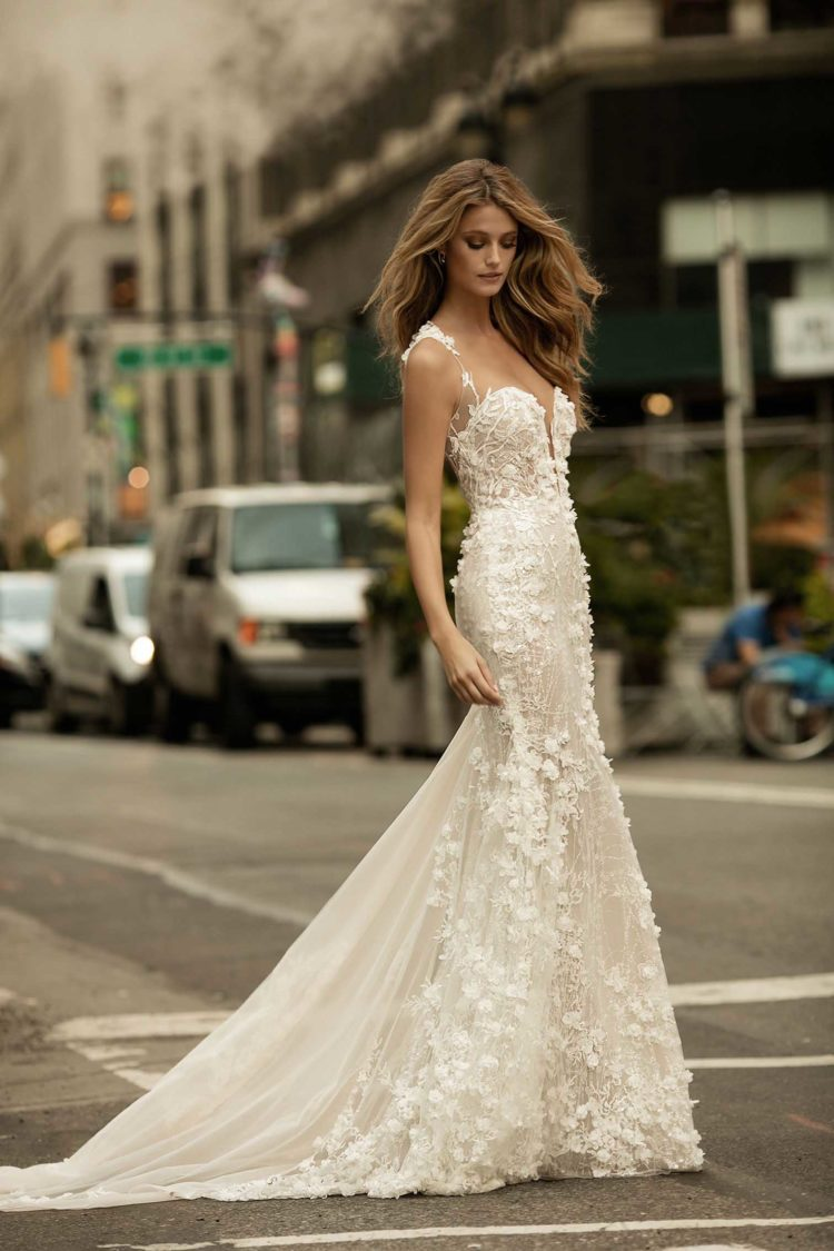 Lace applique plunging neckline mermaid wedding dress with illusion straps