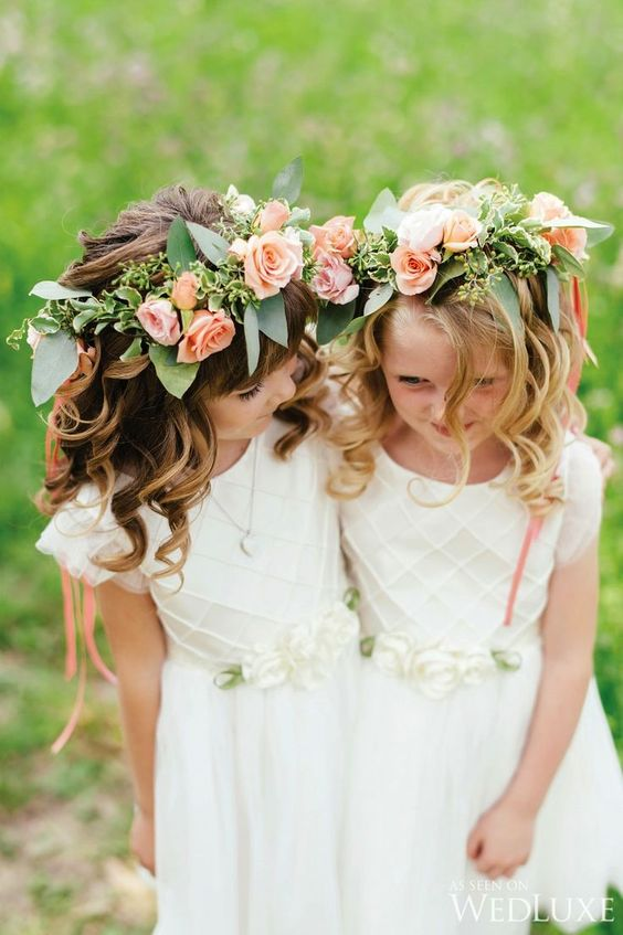 ivory dress with cap sleeves and a textural bodice, peachy flower crowns