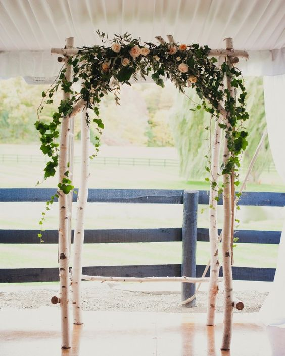 a birch branch arch topepd with greenery and blush roses is rustic classics