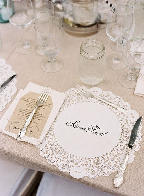 A Place Setting With Paper Doily Instead Of Placemat
