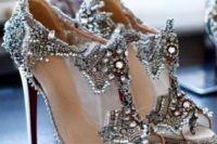 16 modern sheer high heels with heavy beading